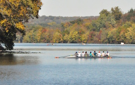 Rowers on Carnegie Reservoir in Princeton