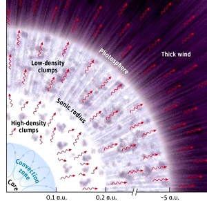 A radial cross-section describing the atmospheric structure of a super-Eddington star