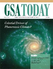 The cover of the GSA Today with a galaxy