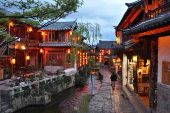 Lijiang Scene showing canals close to sunset